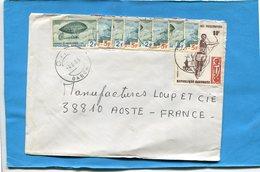 MARCOPHILIE-Gabon-lettre>Françe-cad OYEM-1983-9 Stamp N°311-12Dirigeables+N°410-peéolymp JO Moscou-saut Longueur- - Gabon (1960-...)