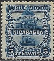 NICARAGUA 1890 Steam Locomotive And Telegraph Key - 5c - Blue MH - Nicaragua