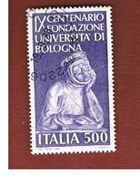 ITALIA REPUBBLICA  - SASS. 1839       -      1988    UNIVERSITA' DI BOLOGNA         -      USATO - 6. 1946-.. República