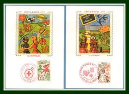 Carte Maximum Silk Soie France N° 1860 1861 Croix Rouge 1975 Red Cross Lapin Champignon Escargot Papillon  Mushroom - Croix-Rouge