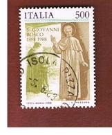 ITALIA REPUBBLICA  - SASS. 1824    -      1988     SAN GIOVANNI BOSCO     -      USATO - 6. 1946-.. República