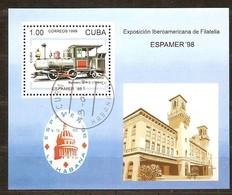 Cuba 1996 Yvertn° Bloc 148 (°) Used Cote 5 Euro Treinen Chemin De Fer - Cuba