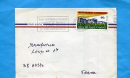 MARCOPHILIE-Gabon-lettre>Françe-cad1983+flamme -  Stamp N°351 Complexe Agro Alimentaire - Gabon