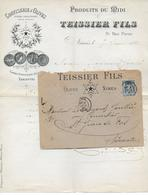 """1890 - ENVELOPPE PUB DECOREE """" OLIVES TEISSIER """" De NIMES (GARD) - Marcofilie (Brieven)"""