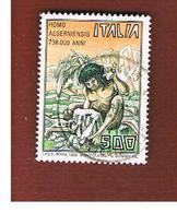 ITALIA REPUBBLICA  - SASS. 1822    -      1988     HOMO AESERNIENSIS     -      USATO - 1981-90: Usati