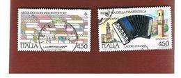 ITALIA REPUBBLICA  - SASS. 1882.1883    -      1989    FISARMONICA, MONDADORI  -      USATO - 6. 1946-.. República