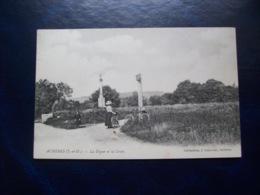 Carte Postale Ancienne D'Achères: La Digue Et La Croix - Acheres