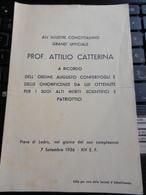 8c) TRENTO PIEVE DI LEDRO 1936 RICORDO PROF. ATTILIO CATTERINA PIEGA CENTRALE - Documents Historiques