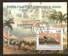 Cuba 2000 Yvertn° Bloc 160 (°) Used Cote 5 Euro Treinen Chemin De Fer - Blocs-feuillets