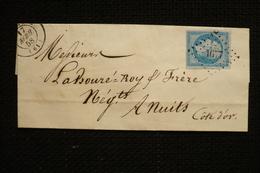 Napoléon Bleu Sur Lilas N°14Ae  Sur Lettre PC 1677 Laventie Du 17/04/1858 - 1853-1860 Napoleon III