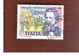 ITALIA REPUBBLICA  - SASS. 1753     -      1986  A. PONCHIELLI  -      USATO - 6. 1946-.. República