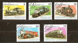 Cuba 2000 Yvertn° 3863-3867 (°) Used Cote 3,50 Euro Treinen Chemin De Fer - Cuba