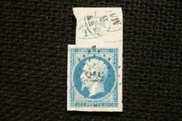 """Rare Napoléon Bleu N°14  Haut De Feuille Avec Marque Bleu """" Controle TP """" PC 578  Caen - 1853-1860 Napoléon III"""