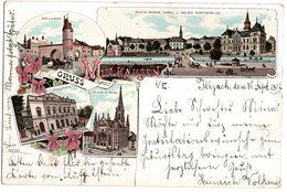 68 - MULHOUSE Gruss Aus MULHAUSEN Bollwerk  Theater Lithographique 1897 - Mulhouse