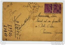 """Cachet Hexagonal Pointillé RAR """"LUNEAU ALLIER 1938"""" Paire Mercure Cp Anzy Le Duc - Poststempel (Briefe)"""