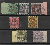 MADAGASCAR- 7 VIEUX TIMBRES OBLITERES AVEC DES BEAUX CACHETS ET DES SIFNATURES DEPUIS 1895 - VOIR FAIT SCAN DU VERSO - Usati