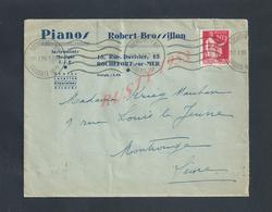 LETTRE COMMERCIALE SUR TIMBRE  DE 1936 ROBERT BROSSILLON PIANOS T S F À ROCHEFORT SUR MER RUE DUVIVIER : - France
