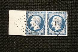Jolie Paire Bord De Feuille  Napoléon Bleu Noir N°14Ab - 1853-1860 Napoléon III