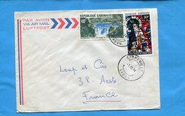 MARCOPHILIE-Gabon-lettre>Françe-cad 1971-2  Stamp N°a140 Barrage De Kinguele+N°326 Sainte Thérèse Enfant Jesus - Gabon