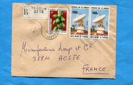 MARCOPHILIE-Gabon-lettre REC>Françe-cad  Yagoua-1977-3  Stamp N°537 Cacao+597-stationZamengoe-controle Satellite - Gabon