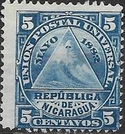 NICARAGUA 1882 Coat Of Arms - 5c - Blue MH - Nicaragua