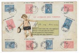 CARTE  Avec REPRESENTATION Des TIMBRES TYPE SEMEUSE LIGNEE - Marcofilie (Brieven)