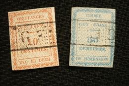 2 Très Vieux Timbres Fiscal Guyane France Dimension Et Quitances - Steuermarken
