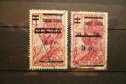 2 Timbres Fiscal Surchargé Cote D'ivoire 3fr Et 8fr - Steuermarken