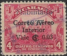 NICARAGUA 1937 Leon Cathedral Surcharged - 3c. On 4c - Red FU - Nicaragua