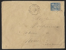 1878 - FRANCE - Cover - Y&T 90 + CONDOM - 1876-1898 Sage (Type II)