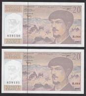 20 Francs Debussy De 1997 - Fay 66ter/2a-64 En Neuf - 2 Numéros Consécutif - 1962-1997 ''Francs''