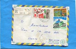MARCOPHILIE-Gabon-lettre REC>Françe-cad Tchibanga-1977-3-stamp N°3A183-Football +362 Dflower+370 Moto Suzuki - Gabon (1960-...)