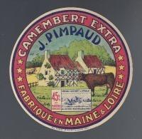 Etiquette De  Fromage Camembert  -  J. Pimpaud   -  Fabriqué En Maine Et Loire - Käse