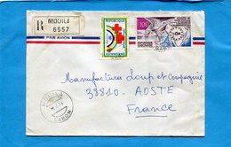 MARCOPHILIE-Gabon-lettreREC >Françe-cad-MOUILA-1974-2-stamp N°A111 Croix Rouge-+319 Union Afrtélécoms - Gabon
