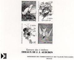 Epreuve De 4 Timbres Oiseaux De Audubon - France
