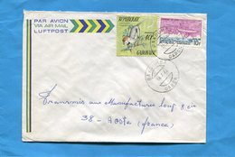 MARCOPHILIE-Gabon-lettre  >Françe-cad-Bakoumba-1974-2-stamp N°329-singe--cercogebus+315 Hydravion Fabre - Gabon (1960-...)