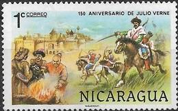 NICARAGUA 1978 150th Birth Anniv Of Jules Verne - 1c Mongol Warriors (Michael Strogoff) FU - Nicaragua