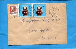 MARCOPHILIE-cote D'ivoire-lettre  >Françe-cad-Bondoukou-1977-3-stamp N°39 Masque Baoule - Côte D'Ivoire (1960-...)