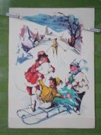 KOV 8-49 - NEW YEAR, BONNE ANNEE, SLEIGH, TRAINEAU, Children, Enfants, Snowman, Bonhomme De Neige - Anno Nuovo