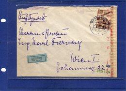 ##(ROYBOX1)-Postal History- Slovakia 1943-Airmail Cover From Bratislava To Wien -Censored,  Censor Label - Storia Postale