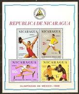 Nicaragua 1968 Yvertn° Bloc 109 *** MNH Cote 10 Euro Sport Jeux Olympiques De Mexico - Nicaragua