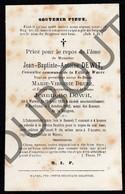 Doodsprentje Jean-Baptiste-Antoine Dewit °1830 Wavre †1882 Burdinne Hoei Veuf De M.V Druez / Jeannette Dewit (F260) - Obituary Notices