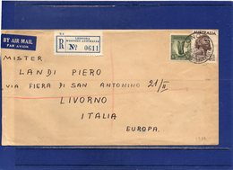 ##(ROYBOX1)-Postal History-Australia 1939-Airmail Registered  Cover From Leonora  To Livorno-Italy - 1937-52 George VI
