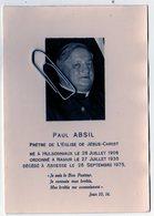 Ancienne Image Pieuse  - Le Curé Paul Absil Né à Hulsonniaux 1906 Décédé à  Assesse 1975 - Décès