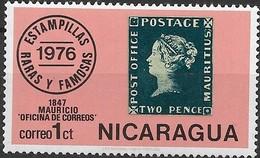 NICARAGUA 1976 Rare And Famous Stamps - 1c Mauritius 1847 2d. Post Office MNH - Nicaragua