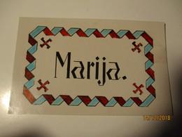 LATVIA 1931 MARIJA FOLK ORNAMENTS SWASTICA   , OLD POSTCARD , 0 - Lettonie