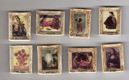 Série Complète 8 Grosses Fèves Reliefs Brillantes LES TABLEAUX DE MAITRES NORDIA 1996 - Peintures Célèbres - Personnages