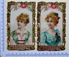 2 CHROMOS LITHOS..BORDS AJOURES..   12.5 /7.5 Cm......JEUNES FEMMES...ROSES - Vieux Papiers
