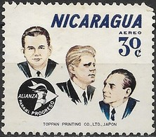 NICARAGUA 1964 Air. Alliance For Progress - 30c - Presidents Somoza And Kennedy And Eugene Black (World Bank) MNG - Nicaragua