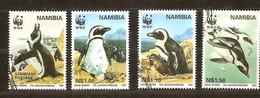 Vogels Namibia Namibie 1997 Yvertnr 790-93 (°) Used Oiseaux Birds WWF - Pingouins & Manchots